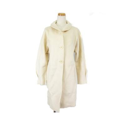 【中古】アニエスベー agnes b. ショールカラー コート ウール ロング タック オフ白 36 RRR レディース 【ベクトル 古着】