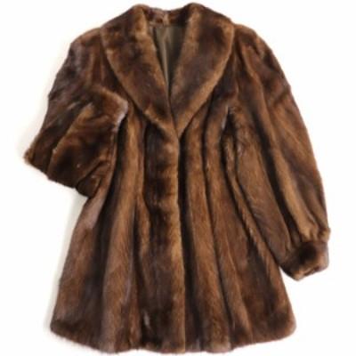 毛並み極美品▼MINK ミンク 裏地ロゴ柄刺繍入り 本毛皮コート ブラウン 毛質艶やか・柔らか◎