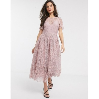 エイソス レディース ワンピース トップス ASOS DESIGN lace midi dress with ribbon tie and open back in soft rose