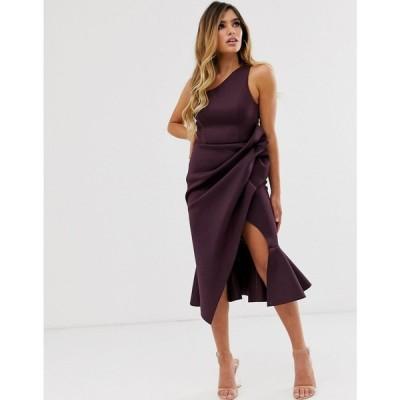 エイソス ASOS DESIGN レディース ワンピース ワンピース・ドレス one shoulder tuck detail midi dress Aubergine