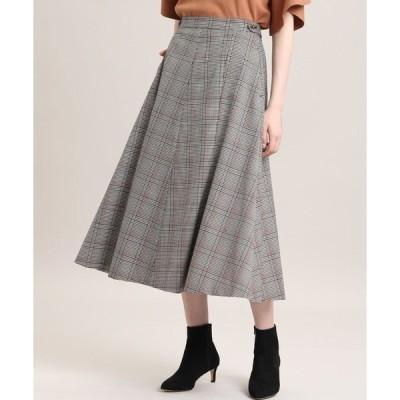 スカート 《Maglie par ef-de》チェックフレアスカート【洗えるセットアップ】
