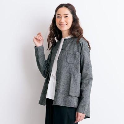 ジャケット アウター レディース 春 秋 / ネップツィード ポケットデザインジャケット / 40代 50代 60代 70代 ミセス シニア ファッション 服