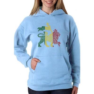 エルエーポップアート レディース ニット・セーター アウター Word Art Hooded Sweatshirt - Rasta Lion - One Love