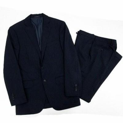 【中古】グリーンレーベルリラクシング ユナイテッドアローズ スーツ 上下 セットアップ ストライプ ジャケット パンツ ネイビー 46 76