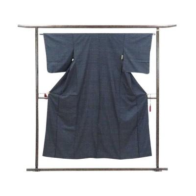リサイクル着物 紬 正絹黒地紺絣袷大島紬着物