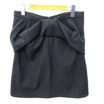 【中古】ヨーコチャン YOKO CHAN スカート ひざ丈 ギャザー デザイン アンゴラ混 台形 バックジップ 40 Mグレー IBS91