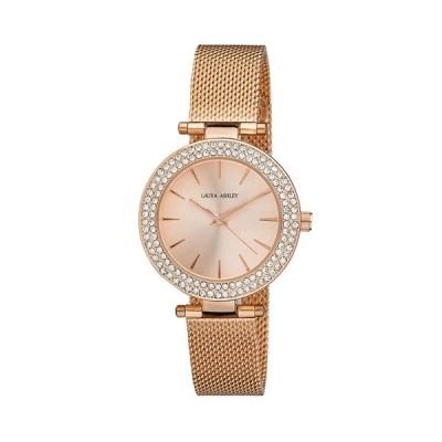 ローラアシュレイ 腕時計 アクセサリー レディース Ladies' T-Bar Case Double Stone Bezel Rose Gold Mesh Band Watch Pink