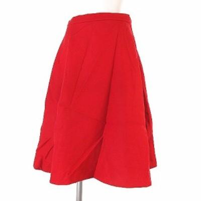 【中古】ハウピア haupia スカート フレア 無地 膝丈 赤いワンピースと口紅 スカート skmf1698-0217 17AW 赤 36 ボトムス レディース