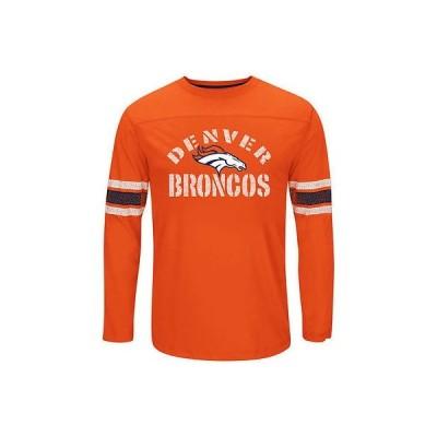 フットボール NFL アメリカ USA 全米 メジャー マジェスティック Denver Broncos Orange Corner Blitz Long Sleeve T Shirt