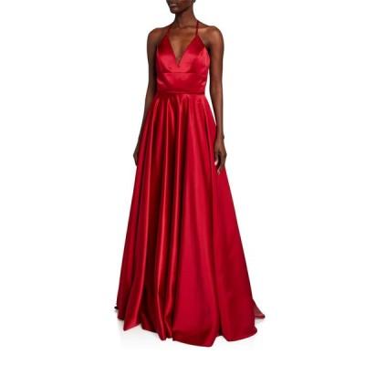 ファビアーナ レディース ワンピース トップス Lace-Up Satin Ball Gown