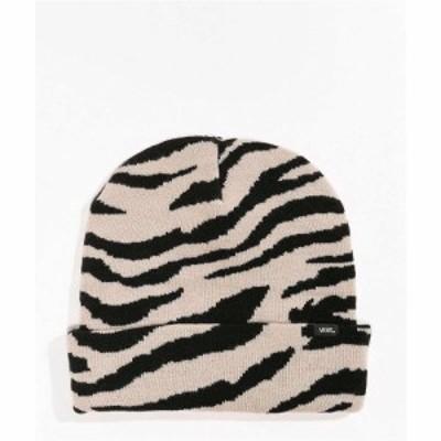 ヴァンズ VANS レディース ニット ビーニー 帽子 Vans Breakin Curfew Zebra Stripe Beanie Black