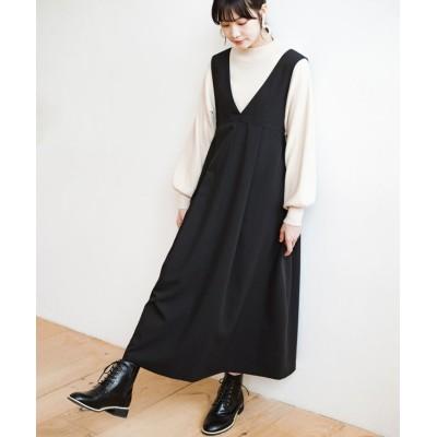 【ハコ】 長め丈登場!Tシャツにもニットにもずーーーっと着られて便利なジャンパースカート レディース ブラック S haco!