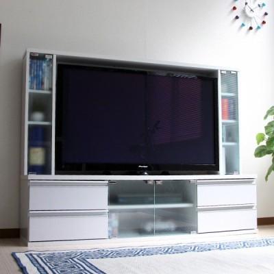 テレビ台150cm ホワイト 50インチ対応 壁面収納型 ハイタイプ 扉付き テレビボード TV台 TVボード 白