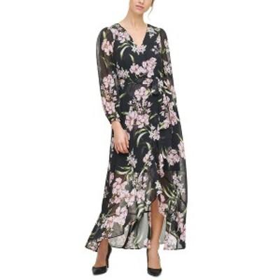 ジェシカハワード レディース ワンピース トップス Floral-Print Ruffled Midi Dress Black/pink