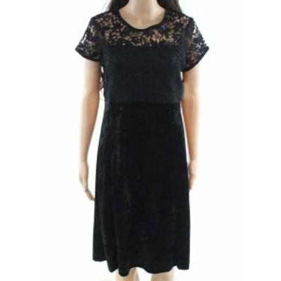 ファッション ドレス Emaline NEW Deep Black Womens Size 8 Floral-Lace Velvet Sheath Dress