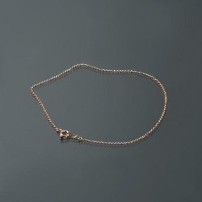 ブレスレット チェーン 18金 ピンクゴールド ロールチェーン 幅1.0mm 長さ15cm 鎖 K18PG 18k 貴金属 ジュエリー レディース メンズ