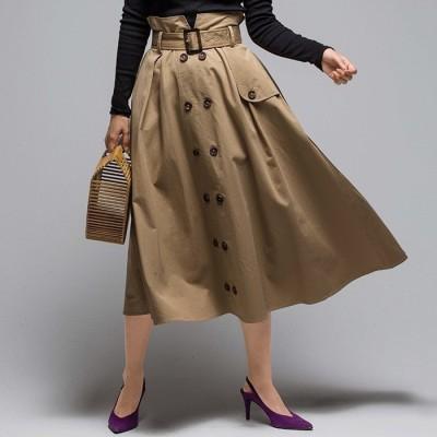 GeeRA 上品デザイントレンチスカート グリーン M レディース