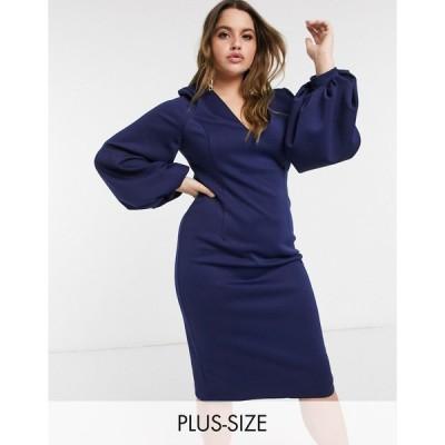 トゥルーバイオレット ドレス 大きいサイズ レディース True Violet Plus plunge balloon sleeve midi dress in navy エイソス ASOS ネイビー 藍