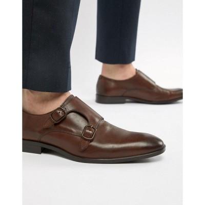 エイソス メンズ スニーカー シューズ ASOS DESIGN monk shoes in brown leather Brown