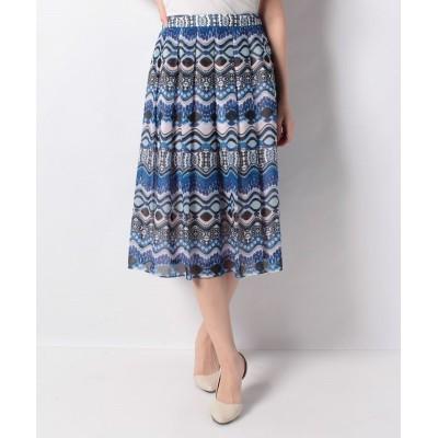 【ラピーヌ ブランシュ】 ボイル幾何柄ボーダープリントスカート レディース ブルー 38 LAPINE BLANCHE