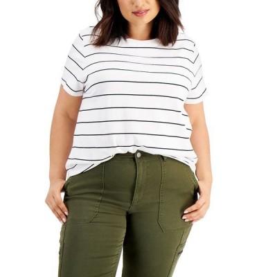 スタイルアンドコー カットソー トップス レディース Plus Size Striped Shrunken Top, Created for Macy's Feeder White
