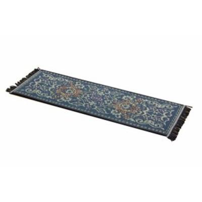 イケヒコ 玄関マット い草 国産 『Fビビアン 上がり框』 ブルー 約30×90cm(裏:ウレタン)