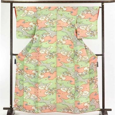 リサイクル着物 小紋 正絹染め鹿の子雲取り柄袷小紋着物未使用品