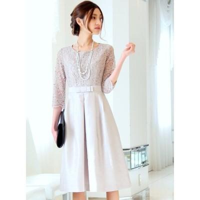 PLIQUA パーティドレス ドレス 結婚式 親族 服装 披露宴 おしゃれ フォーマル お呼ばれ カラードレス 二次会ドレス 日本製 5-9100OP-1 (シャンパンベージュ)
