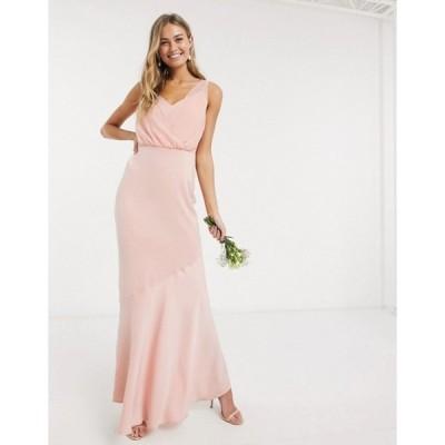 オアシス レディース ワンピース トップス Oasis bridesmaid slinky bow back maxi dress in blush