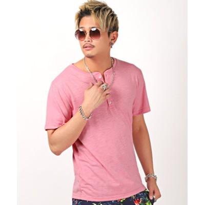 (LUXSTYLE/ラグスタイル)スラブ天竺ヘンリーネック半袖Tシャツ/Tシャツ メンズ 半袖 ヘンリーネック スラブ 天竺/メンズ ピンク