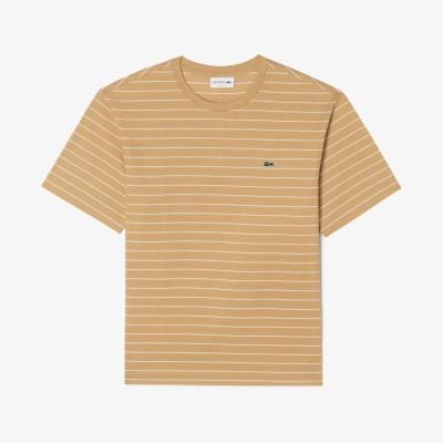 ラコステ LACOSTE リラックスフィット ピンストライプボーダークルーネックTシャツ (ベージュ)