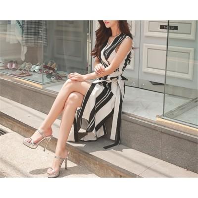 『送料無料』春も使える♪♪💖限定SALE💖韓国ファッション  CHIC気質 レディース ノースリーブ ハイウエストスカート ストライプ 中・長セクション  Vネック スリム レースアップ ドレス