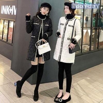 中綿ジャケット レディース 冬 40代 ノーカラーコート ミディアム丈 中綿ジャケット カジュアル  アウター暖かい 大人 オシャレ 大きいサイズ