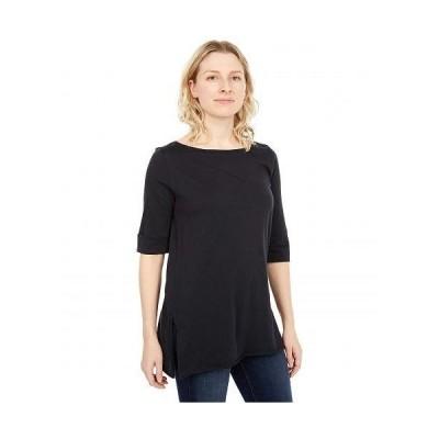 Lilla P リラP レディース 女性用 ファッション Tシャツ Rolled Elbow Sleeve Tunic in Pima Jersey - Black