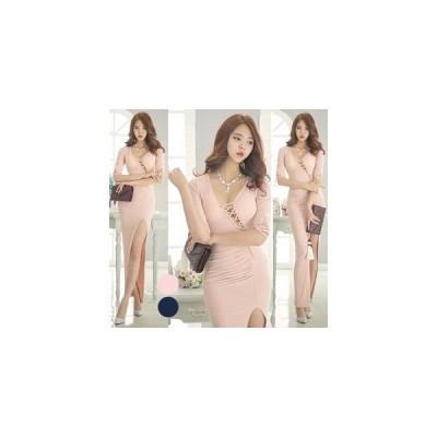 【全2色】【カップ付】ジェレミーロングドレス ライトピンク/ディープブルー  XS/S/M/L/XL【ラグジュアリーワンピース】【韓国製】【K-7154】胸元