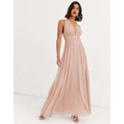 エイソス レディース ワンピース トップス ASOS DESIGN Bridesmaid ruched bodice drape maxi dress with wrap waist Blush