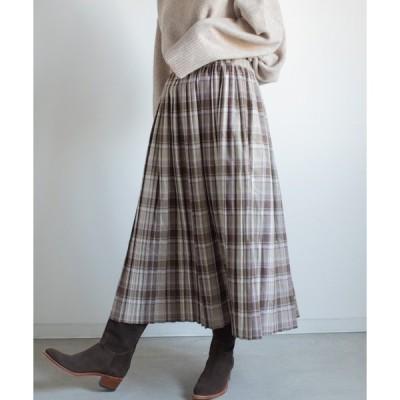 スカート 起毛チェックプリーツスカート