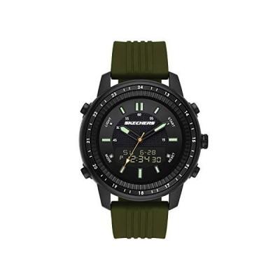 海外限定 Skechers Men's Wilkie Quartz Watch with Silicone Strap, Green, 24 (Model: SR5155)