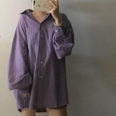 ビッグサイズ シャツ ブラウス ボリューム カジュアル トップス メンズ ドロップショルダー 紫 くすみ色 かわいい 韓国 ワイド リラック