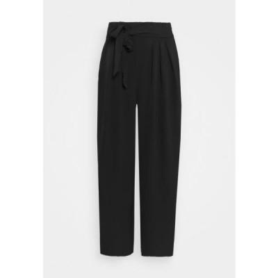 アンナフィールド レディース ファッション Wide cropped leg trousers with belt - Trousers - black