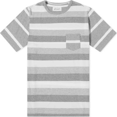 アルバム Albam メンズ Tシャツ トップス whelan stripe tee Ecru