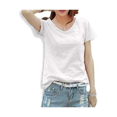 [ネクシード] Tシャツ カットソー スラブ 半袖 Vネック レディース マタニティ 6色 展開 (白 黒 青 グレー ネイビー(ホワイト M)