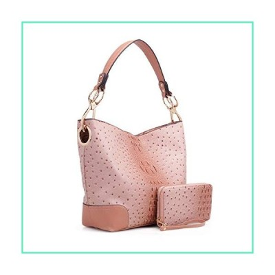 MKF Set Hobo Bag for Women & Wristlet Wallet ? PU Leather Designer Handbag Purse ? Shoulder Strap Lady Fashion, Blush並行輸入品