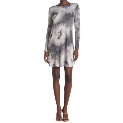 タッシュプラスソフィー レディース ワンピース トップス Long Sleeve Tie Dye Sweater Dress BLACK/GRY