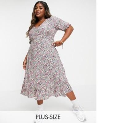 ニュールック レディース ワンピース トップス New Look Curve floral V-neck button three-quarter sleeve tiered midi dress in black