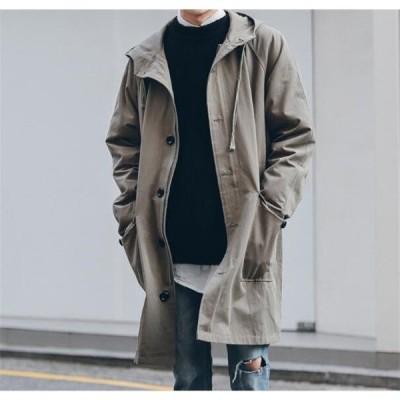 トレンチコートメンズロングPコートフード付きミドル春物コートアウタージャケット大きいサイズ紳士防風かっこいいカジュアル