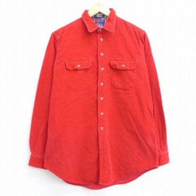 古着 長袖 シャツ ウールリッチ WOOLRICH 90年代 90s コーデュロイ コットン 赤 レッド Mサイズ 中古 メンズ トップス シャツ トップス