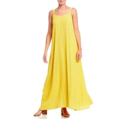 エーラブズエー レディース ワンピース トップス Tie Back Detail Square Neck Sleeveless Printed Maxi Dress