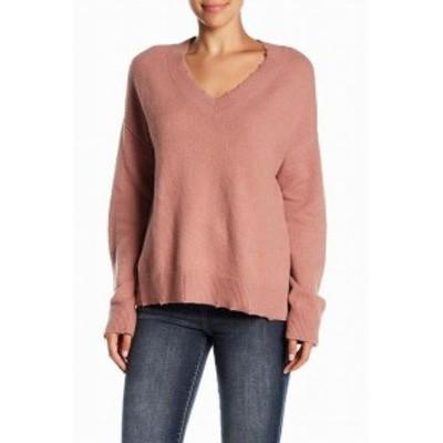 Melrose  ファッション トップス Melrose & Market Womens Distressed Pink Size Large L V-Neck Sweater