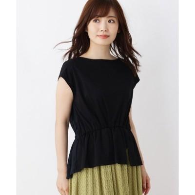 tシャツ Tシャツ バック布帛スムースコットン(綿)ペプラムプルオーバー